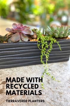 TierraVerde's tabletop planters are perfect for indoor plants including succulents. Each one comes with a water reservoir wicking basket and a removable drainage plug which is critical for succulents who prefer well-drained soil. Rubber Material, Recycled Rubber, Recycled Materials, Indoor Plants, Tabletop, Eco Friendly, Succulents, Recycling, Planters