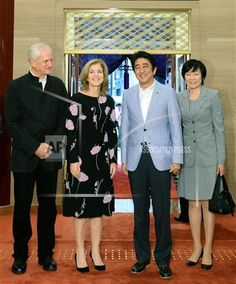 TOKYO, Japan - Prime Minister Shinzo Abe (2nd from R), first lady Akie Abe (R), U.S. Ambassador to Japan Caroline Kennedy (2nd from L), and her husband Edwin Schlossberg visit the Kabukiza theater in Tokyo's Ginza district on July 5, 2014, to watch a Kabuki performance