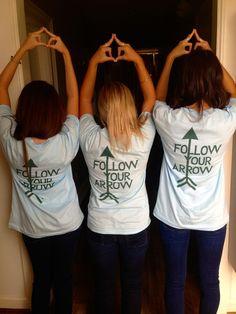 "Pi Phi arrow throw what you know and ""Follow your arrow"" shirts #piphi #pibetaphi"