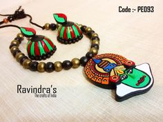 Handmade terracotta Kathakali necklace set with grand Jhumkas.  Visit the link for further details :- https://www.facebook.com/photo.php?fbid=225505664273930=a.223804297777400.1073741828.223796264444870=1