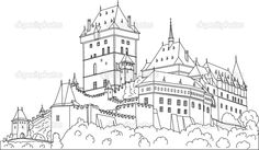 Gothic Castle Drawings Cartoon Sketch Coloring Page Castle Sketch, Castle Drawing, Gothic Castle, Cartoon Sketches, Czech Republic, Watercolor Paintings, Watercolour, Coloring Pages, Louvre