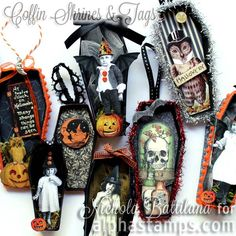 Coffin Shrines & New Halloween Papers Vintage Halloween Cards, Halloween Paper Crafts, Halloween Doodle, Halloween Projects, Holiday Crafts, Halloween Ideas, Halloween Shadow Box, Halloween Tags, Halloween Ornaments