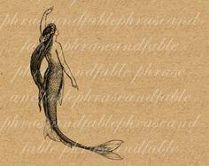 Sirena Merwoman Vintage tritones sirena agua peces imagen Digital descargar T Shirt Transfer 030