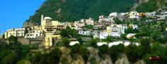 Positano, Gulf of Salerno, Italy, Nikon Coolpix L310, 15.1mm,1/400s, ISO100, f/4.2,-0.7ev, panorama mode: segment 3, HDR-Art/Tilt-Shift photography, 201507140951
