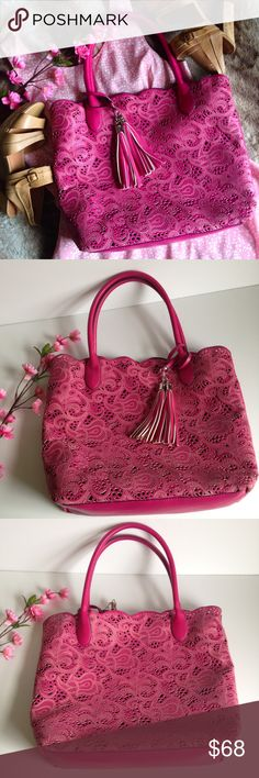 BUCO Fuchsia Paisley Lace Cutout Tote In the mood for something sweet? This tote's the definition of accessory candy. Super cute and convenient, features beautiful paisley design with laser lace cutouts, double tassel, scalloped detail and vegan leather! ---- This bag was gently used but unfortunately two of the handle seams are coming apart, this is a very easy and cheap fix at the repair shop! (PLEASE SEE LAST PICTURES), in perfect condition other than that!!! ---- Priced accordingly, I…