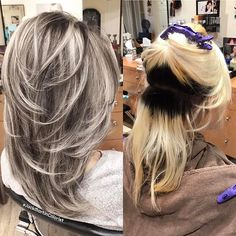 Hair Color Trends 2018 Highlights : This beautiful client had a very dark regrow roots with light blonde mid to end (platinum blonde balayage dark roots) Ash Blonde Hair, Platinum Blonde Hair, Dark Hair, Light Blonde, Dark Blonde, Blonde Balayage, Blonde With Low Lights, Cabelo Ombre Hair, Hair Highlights