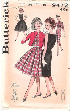 Vintage 1960s Butterick 9472 Dress or Jumper with Box-pleated or Wiggle Skirt and Short Jacket Sewing Pattern, offered on Etsy by GrandmaMadeWithLove
