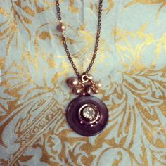 dwallacedesigns:Vintage crystals set on a antique mother of pearl button and decorated with vintage pearls. $38 on Etsy