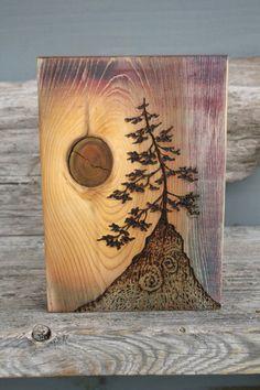 Ancient Tree Art Block Woodburning by TwigsandBlossoms on Etsy