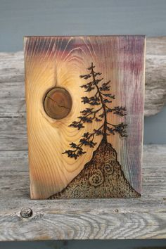 Ancient Tree Art Block Woodburning by TwigsandBlossoms on Etsy