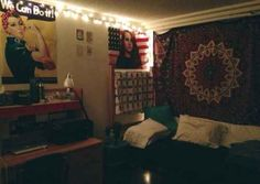 American flag pouty-faced Lana Del Rey posters adorned with string lights.