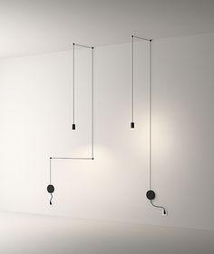 La lámpara colgante Wireflow Free Form consiste en un cable eléctrico negro con terminales de iluminación LED.Puede ir instalada en techo y en pared.