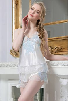 385a57df2 Silk cami and shorts . Pajamas set. Snow Queen collection. by  MiaDivaLingerie on Etsy