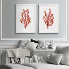 Whether you're looking to complete a room with some beach wall art or you want to go for a full-on beach theme in your home, you'll be glad to know th...   Pair of Coral Kelp Prints #WallDecor #CoastalWallDecor #CoastallWalls #BeachDecor Coastal Wall Decor, Beach Wall Art, Beach Themes, Coral, Table, Prints, Room, Inspiration, Furniture
