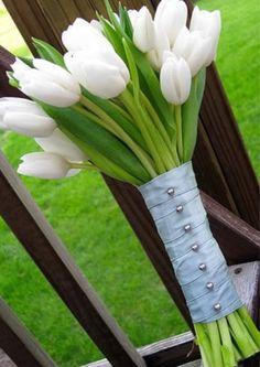 White Tulip bouquet   Preppy Wedding Inspiration
