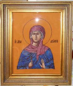 This type of gold frame seems to say Constantinople!  It's Saint Agatha, by Scarlet Quince (part of the full design).