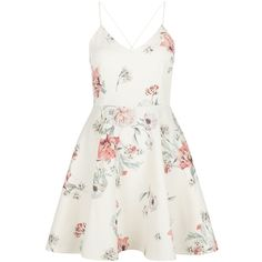 New Look White Floral Print V Neck Skater Dress (2,945 INR) ❤ liked on Polyvore featuring dresses, vestidos, white pattern, skater dress, white day dress, summer dresses, white dress and flower print dress