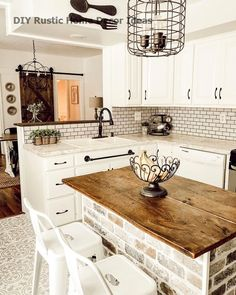 Rustic Kitchen Islands You'll Want to Try - - Add a little extra counter space that's both functional and beautiful with a rustic kitchen island that will easily become the hardest working piece in your kitchen. Rustic Kitchen Design, Farmhouse Kitchen Decor, Kitchen Layout, Rustic Farmhouse, Rustic Table, Farmhouse Kitchen Inspiration, Rustic Design, Farm House Kitchen Ideas, Kitchen Counter Design