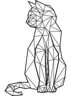 'Geometric Cat' Sticker by Freddie O'Brion Pegatinas «Gato geométrico Geometric Designs, Geometric Shapes, Geometric Animal, Geometric Origami, Chat Origami, Diy Origami, Origami Ideas, Cool Tattoos, Tatoos