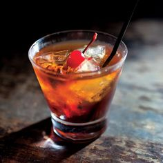"In the early 1800s, ""cocktail"" connoted a drink mixed with bitters. The recipe for this one, the Manhattan, comes from Keen's Steakhouse in Manhattan."