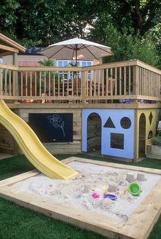 Backyard Ideas- upstairs for the adults and downstairs for the kids   @Ashley Lucas can you build this into your house to please?????