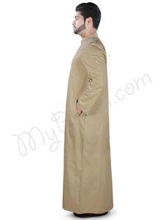 Buy Tahir Galabiyya Online Muslim Men, Islamic Clothing, Color Khaki, Kids Online, Off Colour, Body Measurements, Poplin, Size Chart, Coat