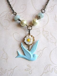 Blue Bird Necklace white daisy amazonite shabby chic