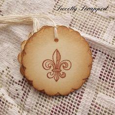 Fleur De Lis Tags #crafts #packaging #scrapbooking