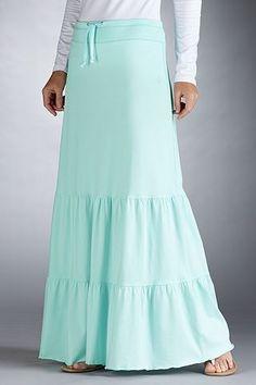 Swim Cover-Ups: Sun Protective Clothing - Coolibar - Ocean Mist - Beach Maxi Skirt