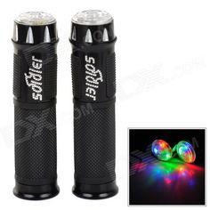 Rubber Bicycle Handle Grips w/ 3-Mode Flashing LED Lights - Black (2 PCS) Price: $9.90