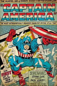 Marvel Comics Retro: Captain America Comic Panel; Smashing through Window (aged) Photo at AllPosters.com