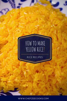 Yellow Rice is a staple and a must for all Hispanic and Latino households. This Spanish Yellow Rice is flavorful and easy to make. It goes great with all dishes including Oxtails, Black Beans, Pollo G Yellow Rice Recipes, Black Beans And Yellow Rice Recipe, Cooked Rice Recipes, Rice Recipes For Dinner, Carne Asada, Oxtail Recipes, Mexican Food Recipes, Kitchens