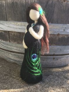 Needle Felted Pregnant Mother with Black Peacock feather
