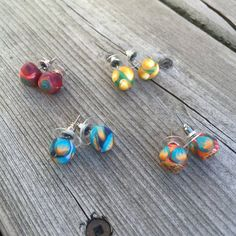 Earrings made from clay polymer and surgical steel. Allergy sensitive, multicoloured, and delicate, these earrings can suit any age and style. The bright, unique patters make them perfect for any age. All of these earrings are made by hand and as such the colours and designs may vary. #YGK #FETCHIdeas #earrings #jewelry #jewellery #handmade