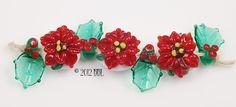 $42  Poinsettia Set - - Handmade lampwork art beads, jewelry & supplies by Bastille Bleu Lampwork