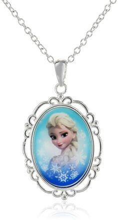 "Disney Girls' ""Frozen"" Silver-Plated Elsa Pendant Necklace, 18"""