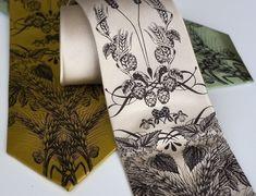 "Handmade silkscreen ""Beer, hops, barley and wheat"" necktie by Toybreaker on Etsy"