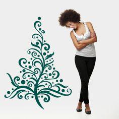 Vinilo decorativo con motivo de árbol de navidad para ser usado en escaparates. Masquevinilo.com