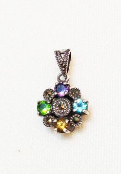 Four Points Multi Gemstone Sterling Silver Necklace on Etsy, $13.99