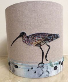 Curlew embroidered lampshade suitable for ceiling or lamp 20cm x 20cm
