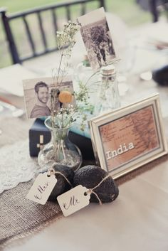What a delicious centerpiece element! Avocados!  And the small sepia photos really meld in with the decor and don't overwhelm.  #tablescape #avocados