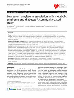 Low serum amylase in association with metabolic syndrome and diabetes: A community-based study - Springer