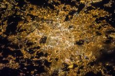 An astronaut took a picture of Paris at night.