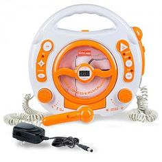 Kids-Portable-Sing-Along-CD-MP3-USB-Player-with-2-Microphones-Anti-skip-Protection-Orange-0