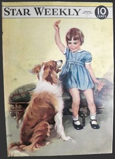 1948 Star Weekly Cover ~ Child with Collie Dog  Florence Kroger Cover Art