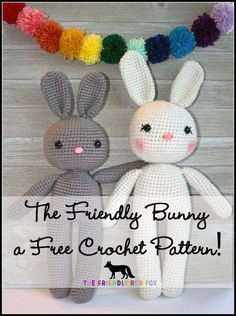 Free Crochet Pattern Bunny Amigurumi. Super cute, simple pattern. Perfect for beginners and those who are more advanced!