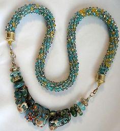 Two-Mermaids-Lampwork-3-Set-Beads-Kumihimo-Chinese-Crystals-Necklace-Aqua-Gold - cricket50/eBay