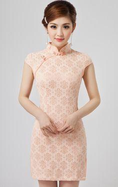 Baby Pink Lace Familial Modern Bodycon Chinese Cheongsam Dress - iDreamMart.com