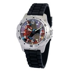 "Marvel Comics Men's MA0710-D191-BlackRubber Marvel 'Spider-Man' Defender Watch Marvel Comics. $29.00. Men's Marvel ""Defender"" Watch. Case diameter: 40.00 mm. Uni-directional rotating bezel. Marvel character featured on dial. Water-resistant to 99 feet (30 M)"
