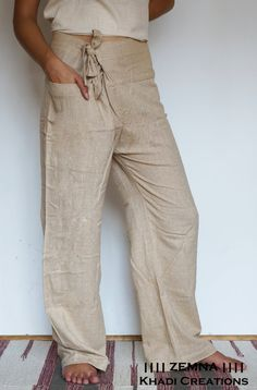 Alternative design of Fisherman Pants by Zemna for women and man made from hand-woven cotton called Khadi. Ideal for yoga, Tai Chi and other physical exercises as well as daily outfit. Size S - M size: Lower waist: max 36 inches / 96 cm Full length: 37 inches / 94 cm Colors: white non bleached (6 left),black (3 left) and natural cream (non bleached - 10 left) Size M-L: Lower waist: max 40 inches / 102 cm Full length: 40 inches / 102 cm + inside seem 1,5 inch/ 4 cm...